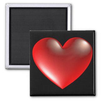 rojo del símbolo del corazón del estilo 3D Imán Cuadrado