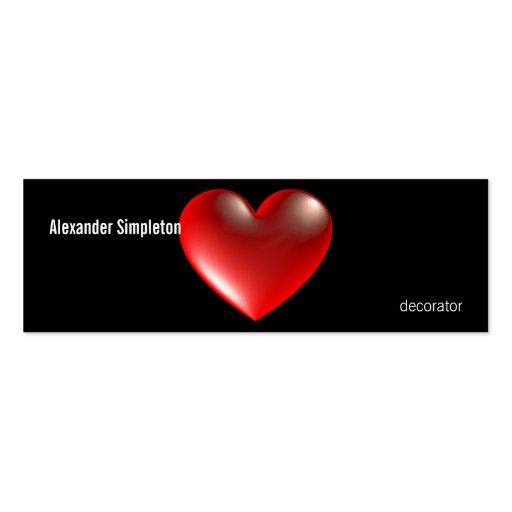 rojo del símbolo del corazón del estilo 3D Tarjeta De Visita
