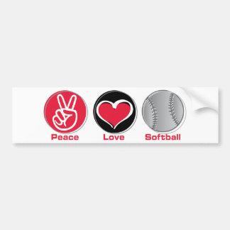 Rojo del softball del amor de la paz pegatina para auto