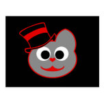 Rojo del sombrero de copa del gato del gatito - gr tarjeta postal