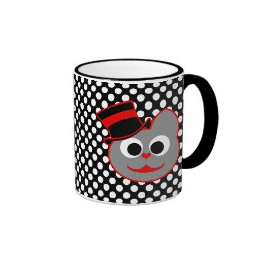 Rojo del sombrero de copa del gato del gatito - gr tazas de café
