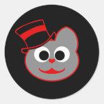 Rojo del sombrero de copa del gato del gatito - etiqueta redonda