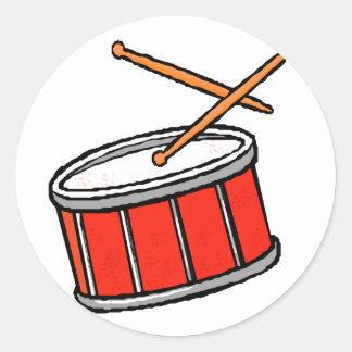 Rojo del tambor pegatina redonda