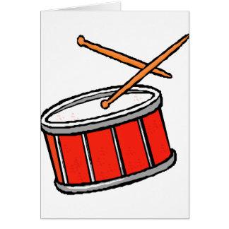 Rojo del tambor tarjeta de felicitación