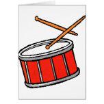 Rojo del tambor tarjetas