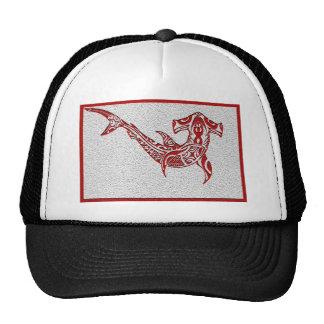 Rojo del tiburón de la tribu gorro de camionero