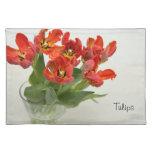 Rojo del tulipán mantel