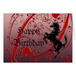 Rojo del unicornio tarjeta de felicitación