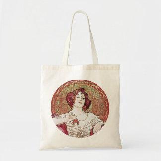 Rojo del vintage de Nouveau del arte Bolsa Tela Barata