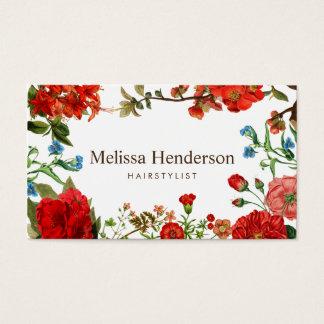 Rojo del vintage y blanco florales tarjeta de negocios