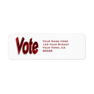 Rojo del voto etiqueta de remitente