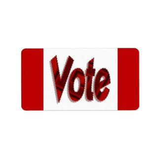 Rojo del voto etiquetas de dirección