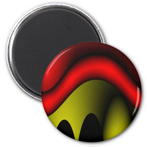 Rojo derretido imán redondo 5 cm