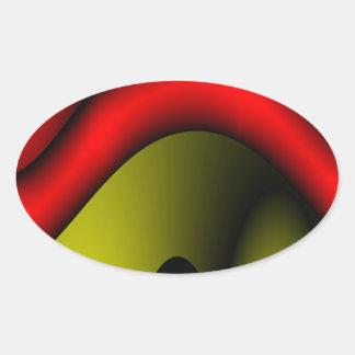 Rojo derretido pegatina ovalada