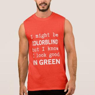 Rojo divertido - acromatopsia verde playeras sin mangas
