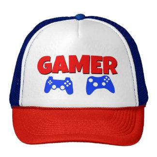 Rojo divertido y azul del gorra del videojugador