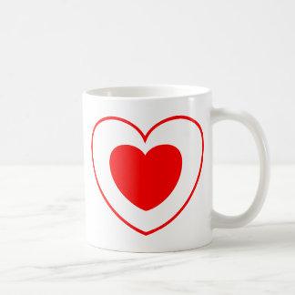 Rojo doble del corazón tazas de café
