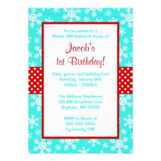 Rojo e invierno Onederland de los copos de nieve d Invitacion Personalizada