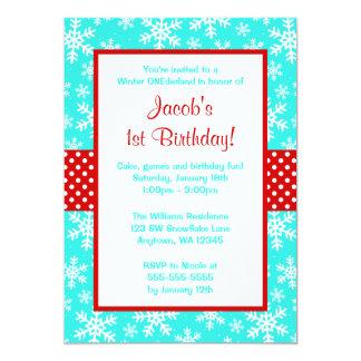 """Rojo e invierno Onederland de los copos de nieve Invitación 5"""" X 7"""""""
