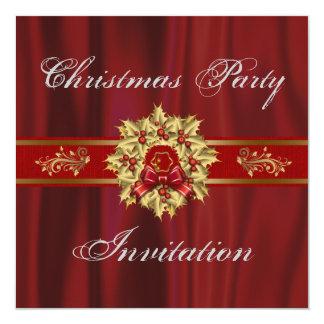 Rojo e invitación de la fiesta de Navidad del oro