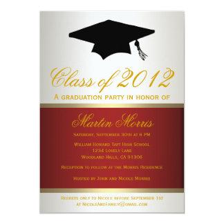 Rojo e invitación de la graduación del oro
