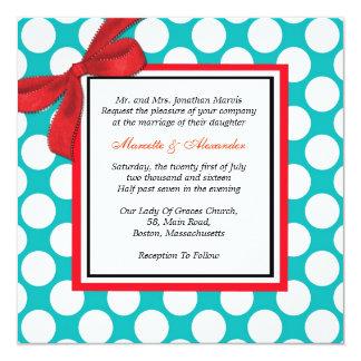 Rojo e invitación del boda del lunar de la
