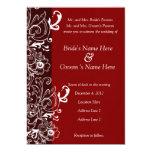 Rojo e invitación floral del boda de Brown Invitación 12,7 X 17,8 Cm