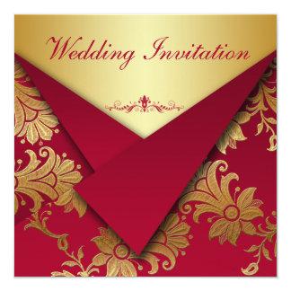 Rojo e invitación floral del boda del oro
