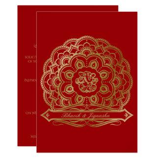 Rojo e invitación india del boda de la mandala del