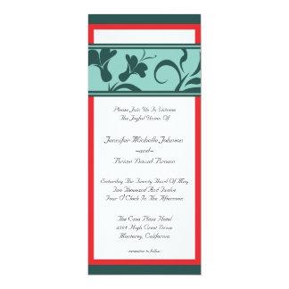 Rojo e invitación larga del boda del instinto