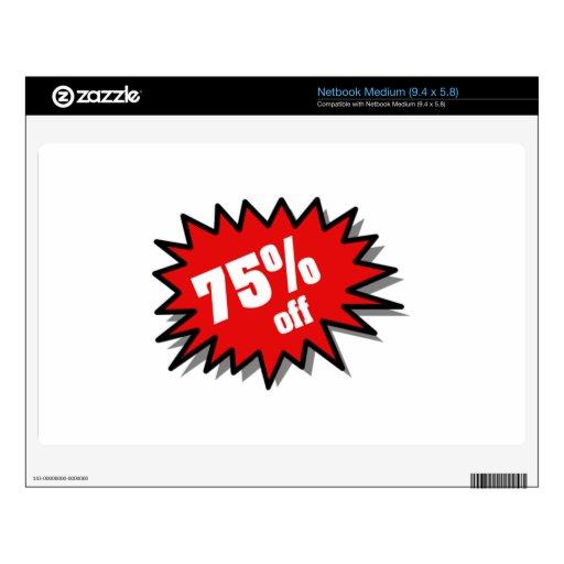 Rojo el 75 por ciento apagado calcomanía para netbook mediano