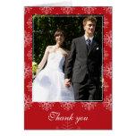 Rojo + el boda blanco del invierno de los copos de tarjetas