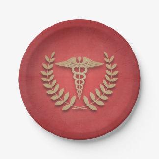 Rojo+El símbolo médico del caduceo del oro doctor Plato De Papel De 7 Pulgadas