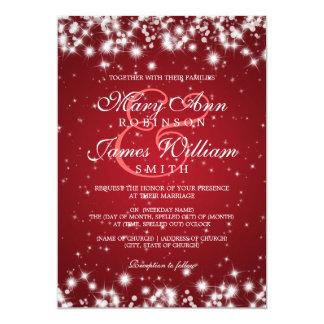 Rojo elegante de la chispa del invierno del boda invitación 12,7 x 17,8 cm