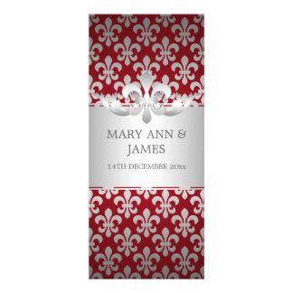 Rojo elegante de la flor de lis del boda invitaciones personales