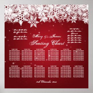 Rojo elegante de la nieve del invierno de la carta póster
