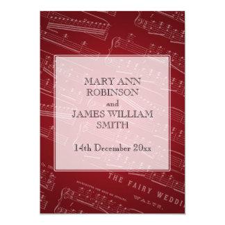 Rojo elegante de la partitura del boda invitación 12,7 x 17,8 cm