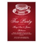 Rojo elegante de la taza de té del vintage de la f