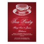 Rojo elegante de la taza de té del vintage de la invitación 12,7 x 17,8 cm