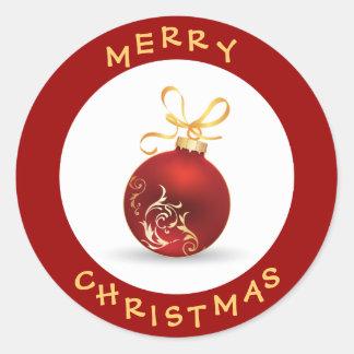 Rojo elegante de las Felices Navidad y chuchería Etiqueta Redonda