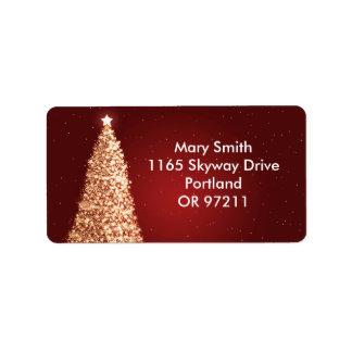 Rojo elegante del árbol de navidad del oro etiquetas de dirección