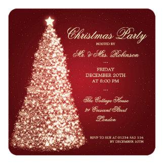 Rojo elegante del árbol del oro de la fiesta de invitación 13,3 cm x 13,3cm