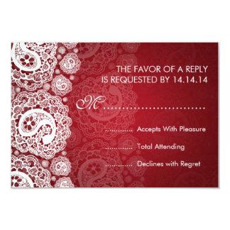 Rojo elegante del cordón de RSVP que se casa Invitación 8,9 X 12,7 Cm