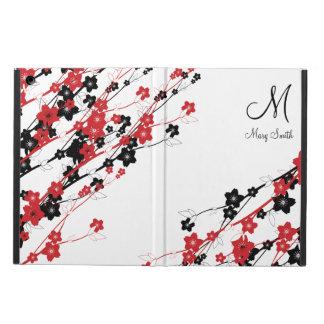 Rojo elegante del monograma de la flor de cerezo