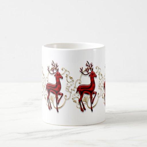 Rojo elegante del oro del reno taza de café