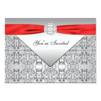 Rojo elegante rojo y de plata todo el fiesta de la invitación 12,7 x 17,8 cm