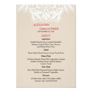 """Rojo elegante simple del menú del boda del texto invitación 5"""" x 7"""""""