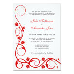 Rojo elegante y el blanco remolina invitación