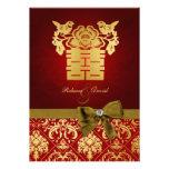 Rojo elegante y felicidad doble china del oro