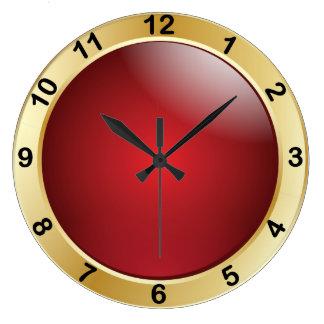 Rojo elegante y oro con números negros reloj redondo grande